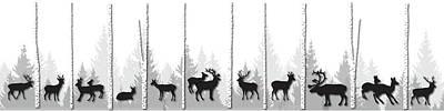 Deer Silhouette Digital Art - The Deer Forest by Henrik Bakmann