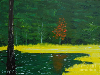 Painting - The Deer Pond by Robert Coppen