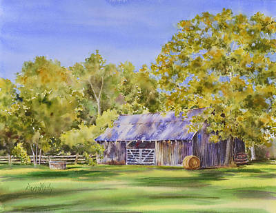 Haybales Painting - The Delaune Barn by Dana Mosby