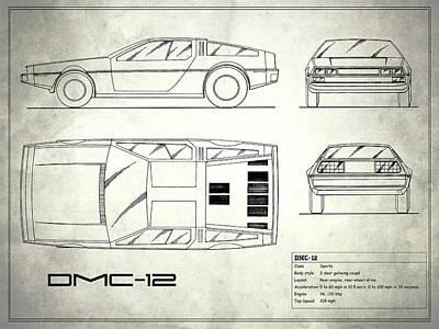 The Delorean Dmc-12 Blueprint - White Art Print