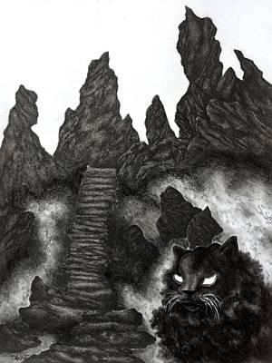 Drawing - The Demon Cat by Gabriel Cajina