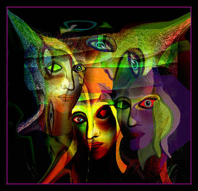 Painting -  The  Demons  Angels  - 214 by Irmgard Schoendorf Welch