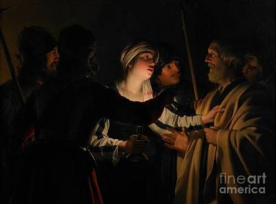 Illuminated Painting - The Denial Of St Peter by Gerrit van Honthorst