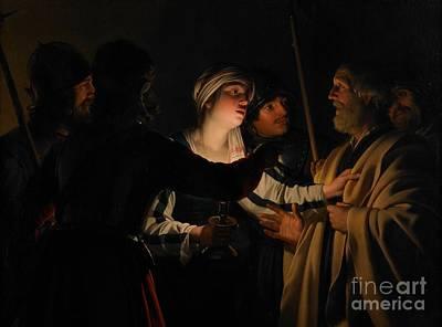 Disciples Painting - The Denial Of St Peter by Gerrit van Honthorst