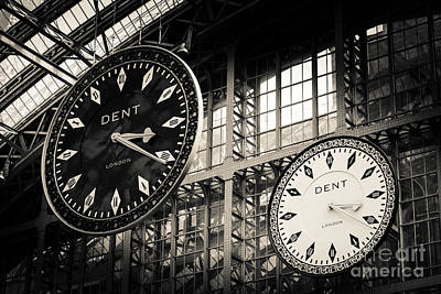 The Dent Clock And Replica At St Pancras Railway Station Art Print by Peter Noyce