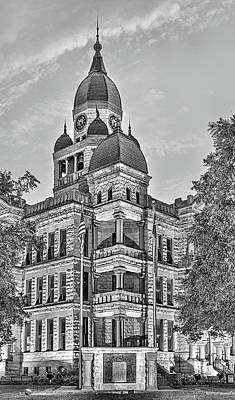 Photograph - The Denton County Courthouse Black And White by JC Findley