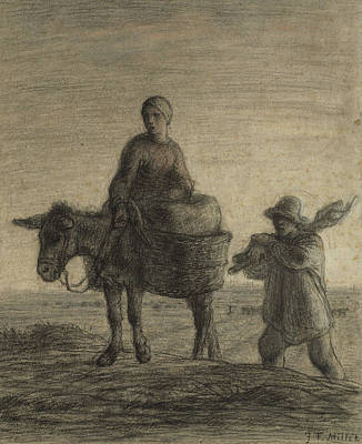 Donkey Drawing - The Departure For Work by Jean-Francois Millet