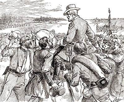 Us Grant Drawing - The Departure Of General Robert E Lee From His Soldiers Prior To His Surrender To Grant by American School