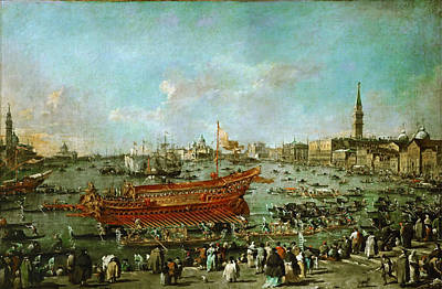 Francesco Guardi Painting - The Departure Of The Doge On Bucentaur  by Celestial Images