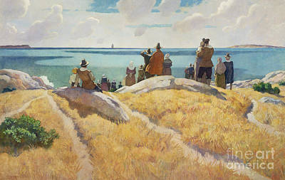 Fine Art In America Painting - The Departure Of The Mayflower For England In 1621 by Newell Convers Wyeth