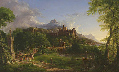 Medieval Temple Painting - The Departure by Thomas Cole