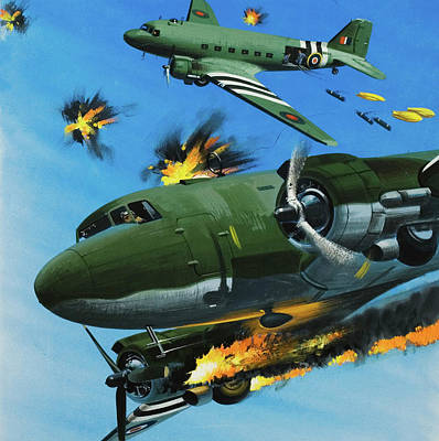 Bomber Painting - The Dependable Dakota by Wilf Hardy