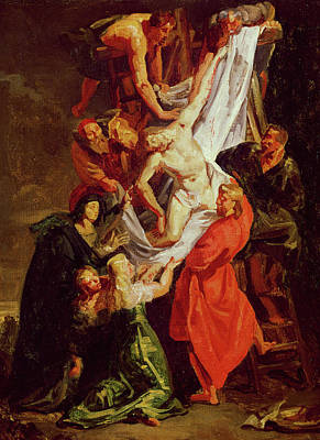 Crucifix Painting - The Descent From The Cross by Ferdinand Victor Eugene Delacroix