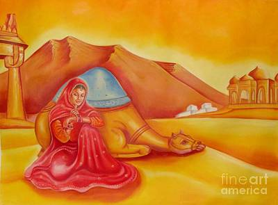 Indian Tribal Art Painting - The Desert Beauty by Komal Saksena