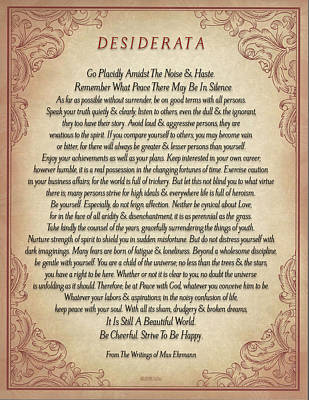 Desiderata Drawing - The Desiderata Poster By Max Ehrmann On Antique Parchment With A Flourish Of Wine by Desiderata Gallery