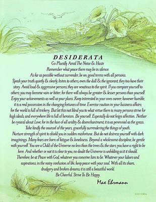 Desiderata Drawing - The Desiderata Poster By Max Ehrmann With Fallen Leaf by Desiderata Gallery