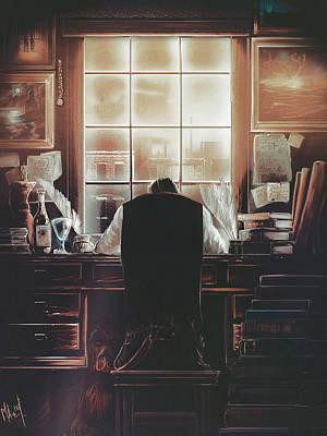 Library Digital Art - The Desk by Mark Ehrett