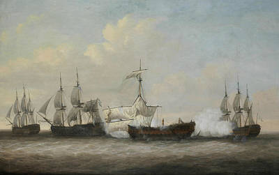The Desperate Plight Of The Monmouth At The Close Of The Action With Three French Ships  Art Print