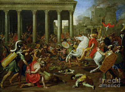 Shield Painting - The Destruction Of The Temples In Jerusalem By Titus by Nicolas Poussin