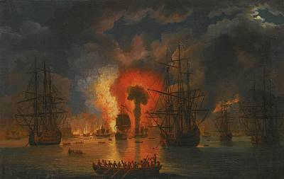 Chesme Painting - The Destruction Of The Turkish by Jakob Philipp