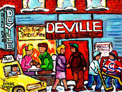 Montreal Winter Scenes Painting - The Deville Diner Bar Montreal Food Paintings Hockey Scenes Canadian Art Carole Spandau by Carole Spandau