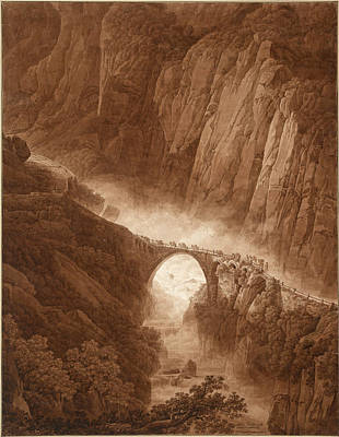 The Gorge Drawing - The Devil's Bridge In The Schollenen Gorge On The Way Across The St. Gotthard Pass With A Mule Train by Peter Birmann