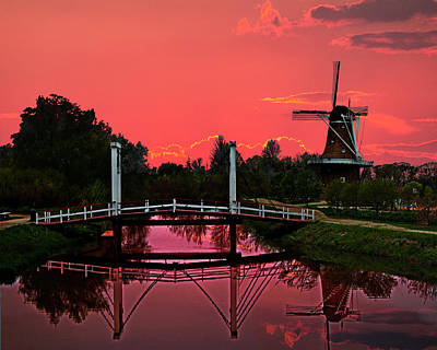 Photograph - The Dezwaan Dutch Windmill At Sunset by Randall Nyhof