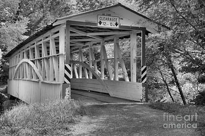 Photograph - The Diehl's Covered Bridge Black And White by Adam Jewell