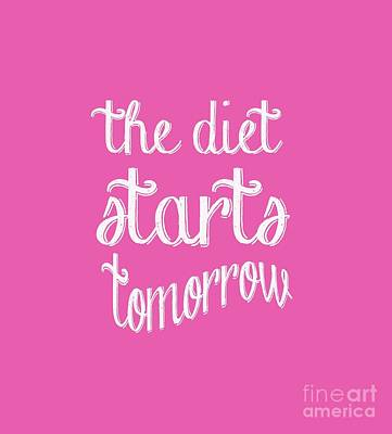 The Diet Starts Tomorrow Tee Print by Edward Fielding