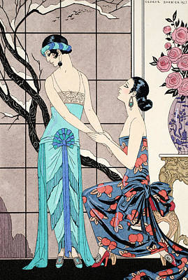 Art Deco Drawing - The Difficult Admission by Georges Barbier