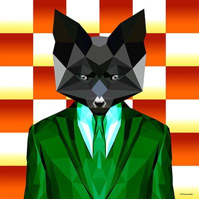 Fox Digital Art - The Diner Fox by Gallini Design