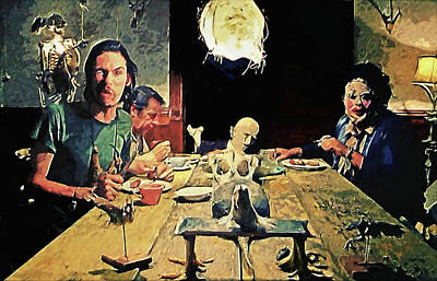 Creepy Painting - The Dinner Scene - Texas Chainsaw by Taylan Apukovska