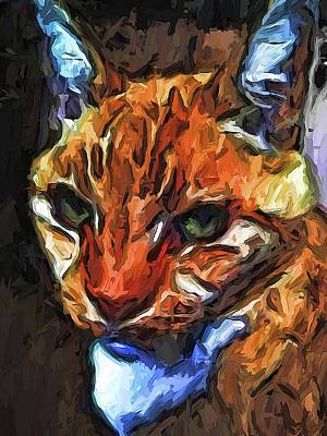 Digital Art - The Direct Gaze Of The Gold Cat by Jackie VanO