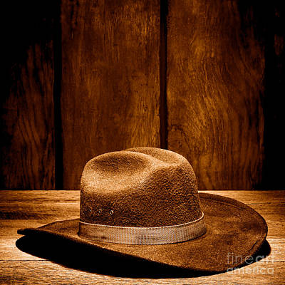 Cowboy Hat Photograph - The Dirty Brown Hat - Sepia by Olivier Le Queinec