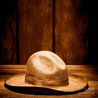 Cowboy Hat Photograph - The Dirty Tan Hat - Sepia by Olivier Le Queinec