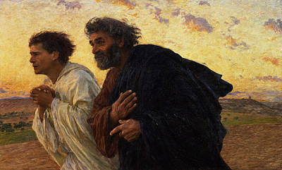 Hand Painting - The Disciples Peter And John Running To The Sepulchre On The Morning Of The Resurrection by Eugene Burnand