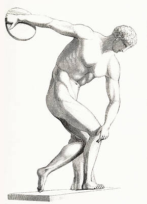 Drawing - The Discobolus Of Myron. Greek by Vintage Design Pics