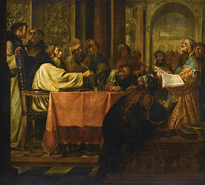 Valdes Painting - The Disputation Of Saint Jerome by Juan de Valdes Leal