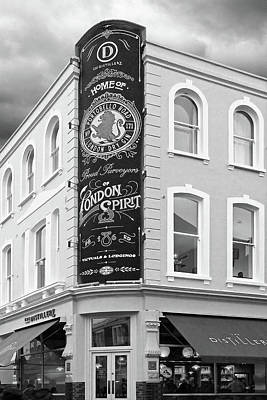 Photograph - The Distillery Portobello Road London Spirit Gin House In Black And White by Gill Billington