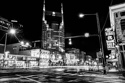 Photograph - The District - Nashville Tennessee Black And White by Gregory Ballos