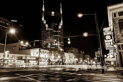 Photograph - The District - Nashville Tennessee Sepia by Gregory Ballos
