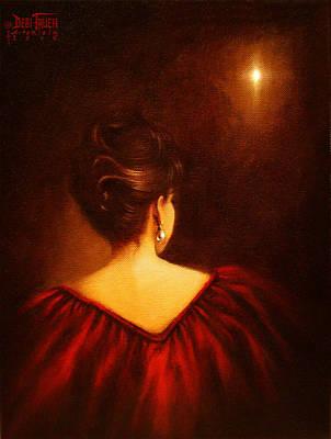 Gold Earrings Painting - The Divine Clew  by Debi Frueh