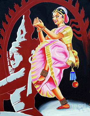 Painting - The Divine Dance Of Bharatanatyam by Ragunath Venkatraman