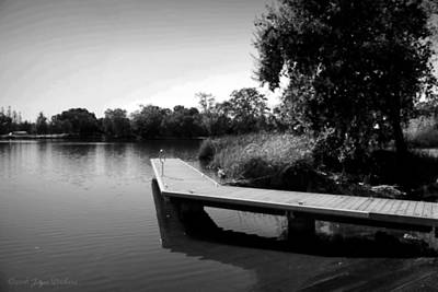Photograph - The Dock At Lodi Lake 3 B And W by Joyce Dickens