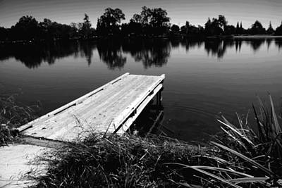 Photograph - The Dock At Lodi Lake B And W by Joyce Dickens