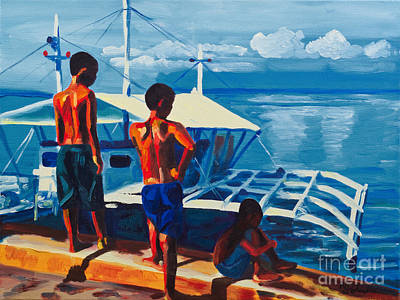 Outrigger Painting - The Dock At Olongo Island by Nicole Polanichka