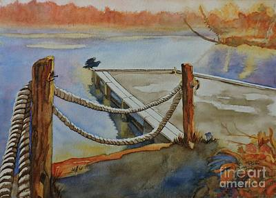Tree Reflection At Sunset Painting - The Dock, Poplar Point, Elk Lake by Lise PICHE
