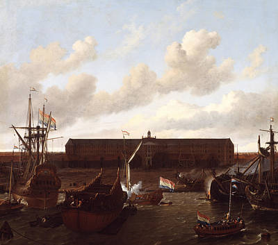 Painting - The Dock Of The Dutch East India Company At Amsterdam by Ludolf Bakhuizen