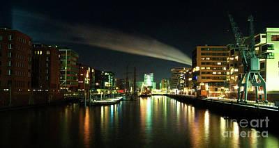 The Docks Of Hamburg By Night Art Print by Rob Hawkins