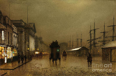 Grimshaw Painting - The Dockside Liverpool At Night by MotionAge Designs